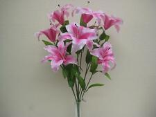 "PINK Jumbo Tiger Lily Bush Artificial Satin Flowers 25"" Bouquet 9-003PK"