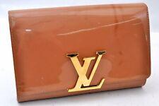 Authentic Louis Vuitton Vernis Pochette Louise Beige Clutch Bag LV A0085