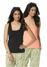 Chillytime 2 X Top Jersey Moulant 2 Pièces - Noir & Abricot Neuf 36