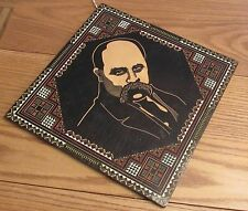 Unusual hand carved relief Russian portrait ornate geometric graphic design wood