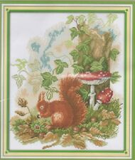 Counted Cross Stitch Kit, Little Squirrel Foraging