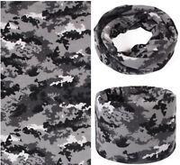 Grey Black White Camouflage Soft Fleece Neck Gaiter Snood Tube Scarf Face Mask