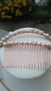PARTY PEACH PEARL HAIR BAND AND COMB JUNE BIRTHSTONE BRIDESMAID WEDDING CULTURE