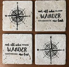 Set Of 4 Travertine Tile Coasters - Not All Who Wander Are Lost