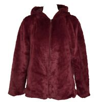 Style & Co Womens Faux Fur Zip Hooded Jacket Size PL/PXL Rose NWT