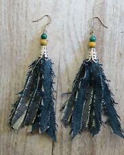 Long denim Jean Tassel, fluppy Tassel denim Earrings, Jean tassel earrings, Boho
