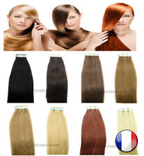 10-20-30-40 EXTENSIONS CHEVEUX NATURELS TAPE BANDES ADHESIVES REMY HAIR 53-60 CM