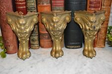 Antique Set 3 Heavy Cast Iron Gilded Gargoyle Griffin Paw Feet Furniture Table