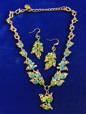 Beautiful Handmade Blue,Green Crystal Rhinestone Beaded Gold Necklace & Earrings