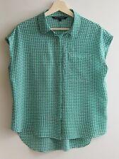 SPORTSCRAFT Size 14 Green Geometric Grid 100% Silk Blouse, Top, SHIRT Sleeveless
