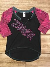 Zumba Spicy Black Pink Loose Tee Top Fitness Dance Workout Size Small S