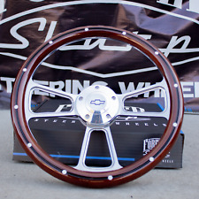 "14"" Billet Steering Wheel for Chevy - Mahogany with Rivets and Chevy Horn Button"