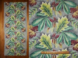Vtg 30s Art Deco Fabric Curtain Panel Cotton Textured Tropical Forest Leaves