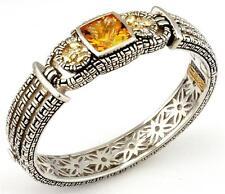 Philip Andre 18k Gold & Sterling Silver Citrine & Diamond Bangle Bracelet