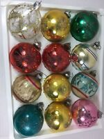 Vintage Lot of 12 Christmas Ornaments Glass Stencils Frosted Striped