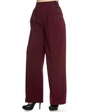 Hell Bunny 40s Hubertine Vintage Style Wide Leg Plain Trousers Black Burgundy UK 12 (m) Red