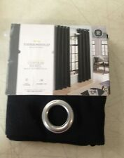 Threshold Light-Filtering Curtain Panel Black Textured Solid Grommet Top Style
