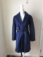 Madewell Shawl Collar Wrap Coat Women's Blue Night Sky Size Large NWT Long Belt