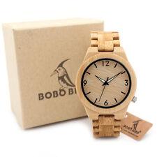 US Authorized BOBO BIRD D27 Bamboo Wooden Watch Quartz Luminous Needle Watches