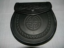 Semi Dress Kilt Sporrans Celtic Design Black Leather/Half Dress Sporran Celtic,