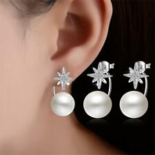 Fashion Women Cute Crystal Star pearl Rhinestone 925 Sterling Ear Stud Earrings