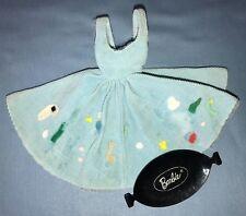 1960 Barbie Friday Night Date #979 Blue Corduroy Jumper Dress Black Tray w/ Logo