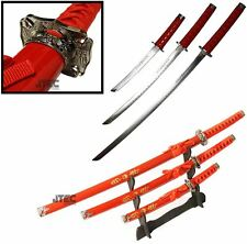 "40"" 3pc SET Katana Swords RED Dragon w/Stand Carbon Steel Collectible Samurai"