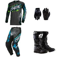 ONeal Element Villain Gray motocross dirt bike - Jersey Pants Gloves Boots combo