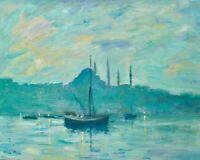 "Nino Pippa Well Listed Original Oil Painting Istanbul Turkey COA 16""X20"" Nice"