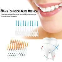 80x Zwischen den Zähnen reinigen Interdentalbürste M1I5 Zahnseide-Zahnbürst S7K3