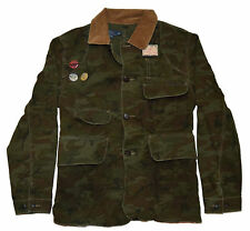 Polo Ralph Lauren Mens Camo Army Hunting Canvas Jacket Coat Green Brown Medium
