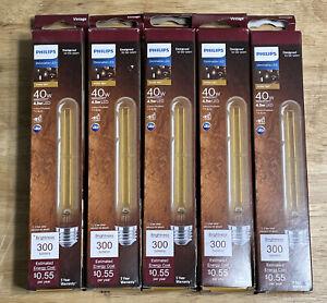 Lot of 5 Philips 40-Watt Equivalent T10 Dimmable Vintage Glass LED Light Bulb