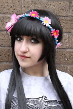 BLUE PINK orchid SPIKE STUD FLOWER CROWN HIPPY PASTEL FESTIVAL GRUNGE HEAD BAND