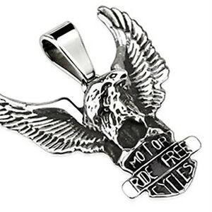 Stainless Steel Freedome Eagle Standing Over Riders Shield Pendant P207