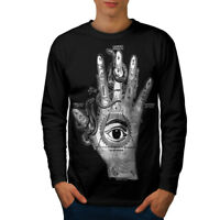Wellcoda Triangle Eye Hand Mens Long Sleeve T-shirt, Mystery Graphic Design