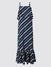 Marks & Spencer M&s Stripe Frill Cold Shoulder Boho Blue Maxi Dress 8 10 38 70s