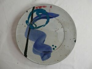 """Stoneware Grey Top Glazed Dinner Plate USA Made 11"""" Signed"""