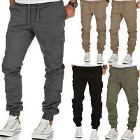Mens Casual Pants Cargo Jogger Jogging Sports Sweatpants Pocket Long Trousers