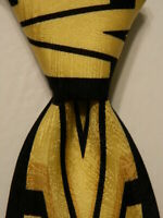 VITALIANO PANCALDI Men's Silk XL Necktie ITALY Luxury Geometric Yellow/Black EUC