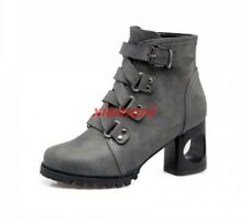 Punk Womens Ankle Boots Mid Block Heel Buckle Strappy Casual Motorcycle Shoes SZ