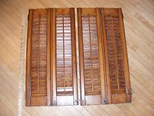 "Vtg 28"" x 28"" Colonial Wood Interior Louver Plantation Window Shutters Pair"