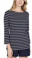NEW Nautica Ladies' 3/4 Cuff Sleeve Top Navy With White Stripes Large