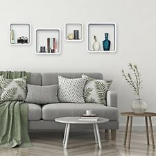 Relaxdays 10021777 46 Set 4 mensole da parete Cube per il soggiorno Forma...
