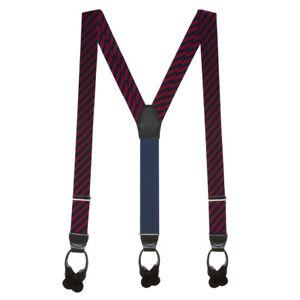 Red Diagonal Stripe Silk Suspenders