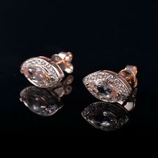 Marquise Morganite Earrings Stud Halo Natural Diamond Solid 14K Rose Gold 12.5mm