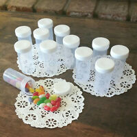 6 Plastic JARS White Caps Prescription Style Container Bottles #3814 DecoJars