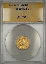 1913 $2.50 Quarter Eagle Gold Coin Anacs Au-50