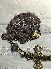 VICTORIAN SAPHIRET MAGIC GLASS GOLD STONE Rosary Beads / Saphiret NECKLACE RARE