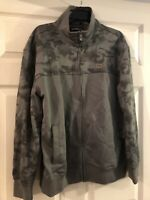 Ecko Unltd Men's Large Track Jacket Gray Camo Long Sleeve Full Zip Zip Pockets