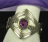 TAXCO Mexico Hinged Bracelet 1960s STERLING 63g OPEN 5ct  AMETHYST Aztec Design